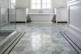 bathroom tile floor ideas with gray hexagonal tile color home