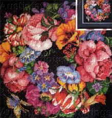 dramatic summer floral needlepoint kit barbara baatz wreath