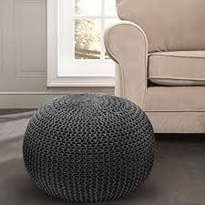 Knit Ottoman Pouf Knitted Cable Style Dori Pouf Handmade Floor