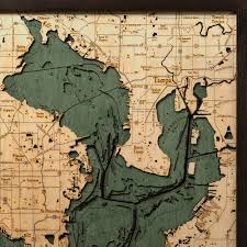 Map Of Tampa Bay Tampa Bay Wood Map 3d Nautical Topographic Chart Framed Art