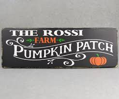 personalized pumpkin patch farm wood sign for halloween fall home