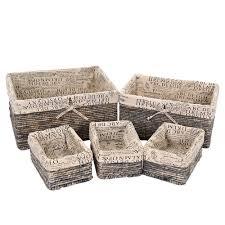 amazon com stone gray wicker decorative organizing baskets 3