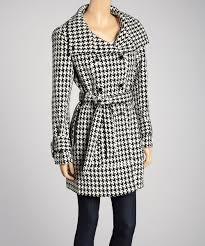 black u0026 white houndstooth wool blend trench coat by calvin klein