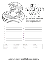 summer alphabetical order free coloring pages kids