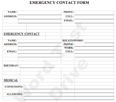 emergency contact form employee emergency contact form emergency