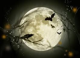 halloween background with house halloween night wallpaper with zombies and full moon stock