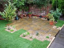 Small Patio Decorating Ideas by Small Patio Decor With Stone Flooring And Grasses And Potted