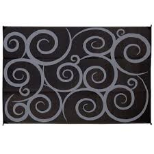 Awning Mats Direcsource Ltd Reversible Patio Mat 9 U0027 X 12 U0027 Black Gray Swirl