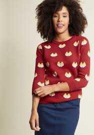 fox faces pullover sweater modcloth