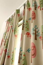 Green Nursery Curtains Beige Color Two Custom Curtain Panels Woven Fabric