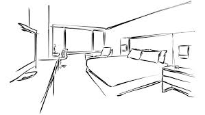 modern hotel room kig size bed animated drawing on chalkboard