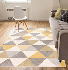 Moderne Rug Cleaning Isometry Gold Grey Modern Geometric Triangle Pattern