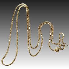 gold necklace box images Vintage box chain 14k gold square box chain necklace tanya 39 s jpg