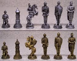 chess set with glass board medieval knights in armor new 3 1 2