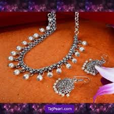 fashion jewelry pearls necklace images Silver oxidised jewellery pearl necklaces jpg