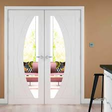 Interior Glazed Doors White by Salerno White Primed Door Pair Clear Safety Glass