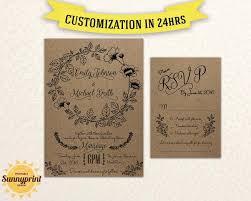 Wedding Invitations With Rsvp Printable Wedding Invitation Rustic Wedding Invitations With Rsvp