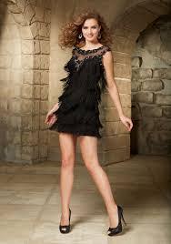 black fringe with beading party dress open keyhole back morilee