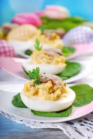 stuffed easter eggs easter eggs stuffed with mushrooms stock photo image of dish diet