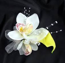 White Orchid Corsage Yellow Corsages Debbiecoflowers Com Silk Wedding Bouquets