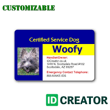 service dog id cards plastic service dog id tag made by