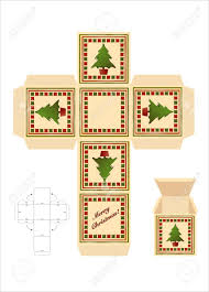 a christmas gift box cut out template with assembly instructions
