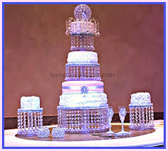 wedding crystal cake stand triple tier and 2 side ones crystal