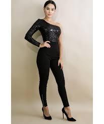 sleeve sequin jumpsuit cold shoulder sequin jumpsuit luxe aloure