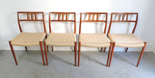 set of 4 danish modern niels moller teak dining chairs 79 for