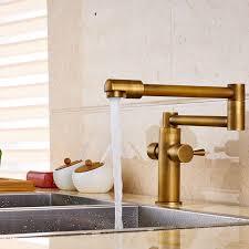 Pot Filler Kitchen Faucet Cane Deck Mounted Antique Brass Dual Handle Pot Filler Kitchen