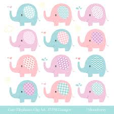 blue and grey elephant clip art instant download baby boy baby