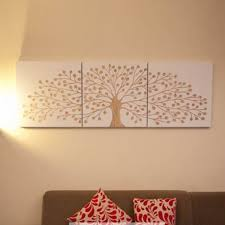 tree of 60 x 60cm white 3 panels triptych wall