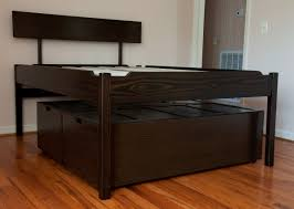 King Bed With Storage Underneath Furniture Brown Wooden Bed With Storage Inderneath Plus White Fur