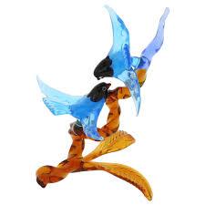murano sculptures murano glass birds on amber branch blue