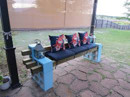 Outdoor Wooden Bench Diy by Diy Patio Bench Using Concrete Cinder Blocks 4x4 Wood And Cushions