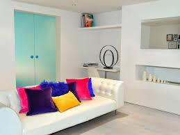 Living Room Mirror by Tv Accent Wall Table Shelf Tile Floor Dark Stripes Gray Sofa