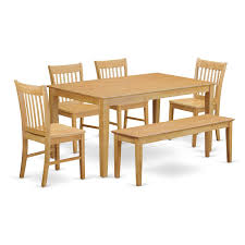 dining room table and bench amazon com east west furniture cano6 oak w 6 piece dining table