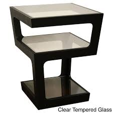 clara modern tall black 3 tiered end table free shipping today