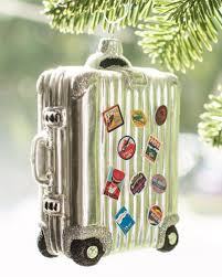 vintage suitcase ornament for jetsetters for the home