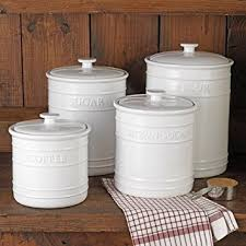white embossed kitchen canister set 4