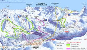 Italy Mountains Map by Zermatt Switzerland Ski Map