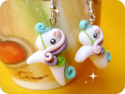 my pony earrings blue pink purple polymer clay earrings my pony and