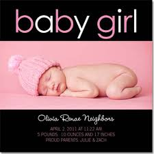 baby girl announcements baby girl noir baby girl birth announcements by lemon prints
