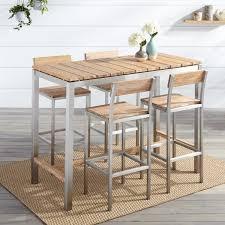 Bar Table And Chairs Macon 5 Piece Rectangular Teak Outdoor Bar Table Set Whitewash