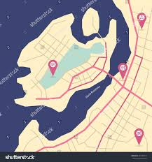 Create A Map With Pins Vector Flat Abstract Island Map Pin Stock Vector 407363314