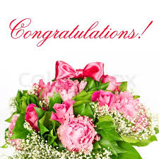 congratulations flowers colorful flowers bouquet peonies and roses card concept stock