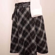 Wool Skirts For Winter Skirt Women Long A Line Skirt British Style Woolen Plaid Skirts