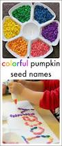 name activities with colorful pumpkin seeds activities rainbows