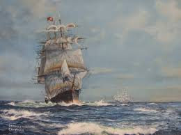 tall ship red jacket original oil by dennis chapman