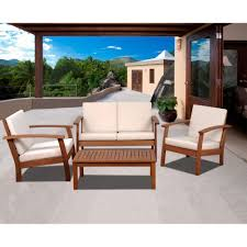 conversation set patio furniture amazonia murano 4 piece eucalyptus patio conversation set with off